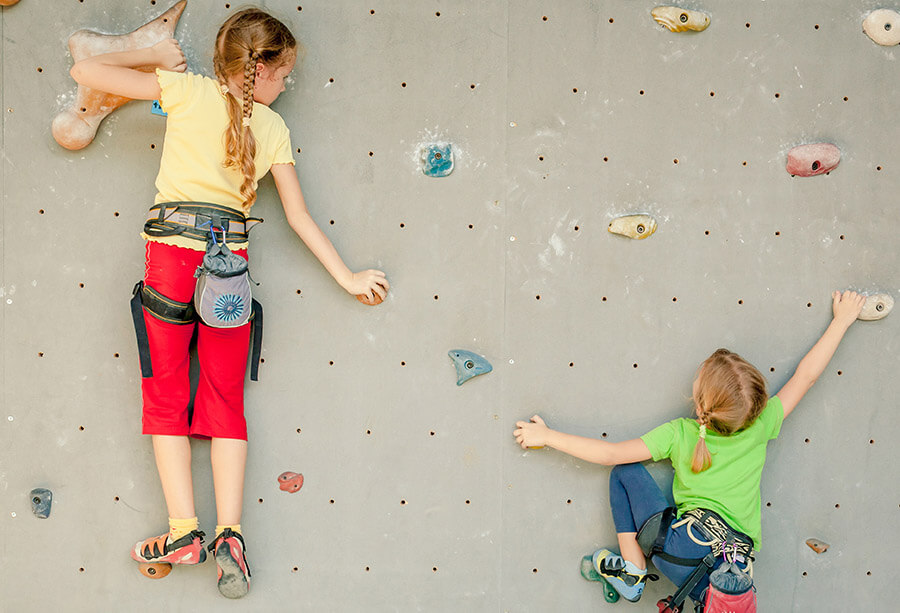 Children rock climbing